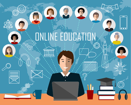 tutor: Tutor and his online education group on the world map background. Concept of distance education and e-learning. Tutor instructs students from different countries. Education and science icons.