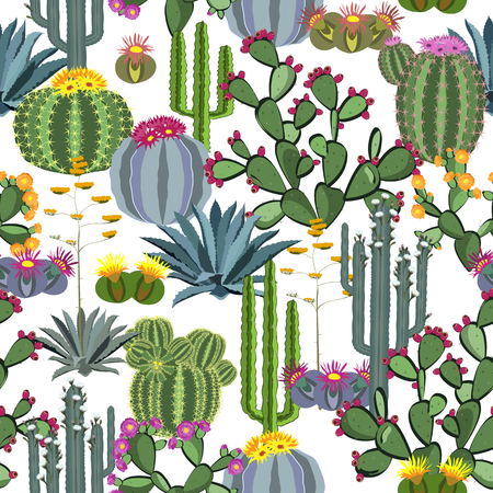 Seamless pattern with cactus plants, blue agaves, and prickly pear. Perfect for your project,wedding,greeting card,photos,blogs,wallpaper,pattern,texture and more Illustration