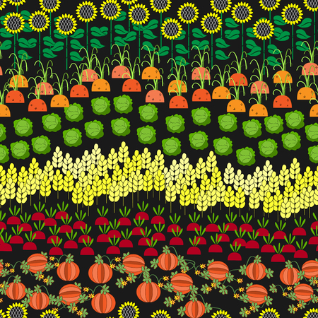 cartoon tomato: Fields Seamless Pattern. Different Agricultural Cultures in One Image. Cartoon farming landscape.