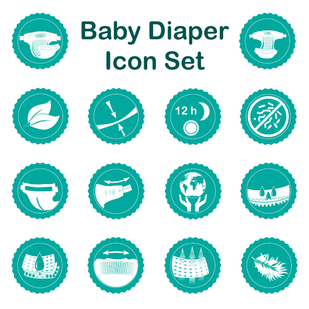 Diaper characteristics icons. Natural extracts, slim, antibacterial, wetness indicator, stretch sides, restick tapes, eco friendly, leak barries, super absorbent, elastic waist, breathable, soft, dry, and other diapers features