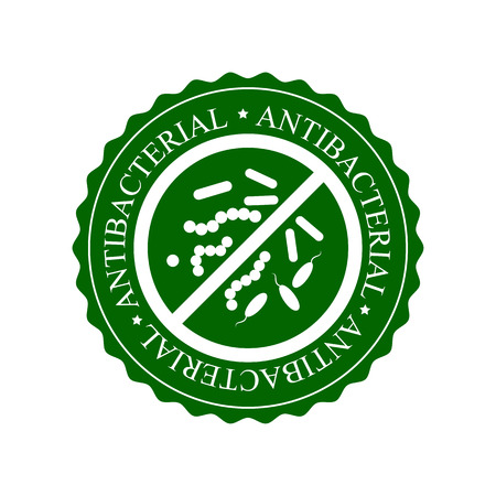 Green Antibacterial Icon, Badge or Label Isolated on White Background. Crossed sign with bacteria