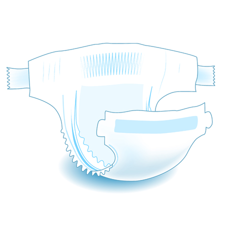 Baby absorbent diaper. Realistic vector illustration for diapers packs, and other babies production.