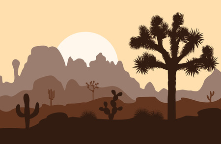 Morning landscape with Joshua tree and mountains over sunset. Vector illustration.