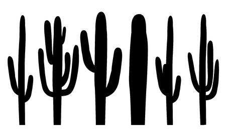 saguaro: Black silhouettes of saguaro cactus Vector illustration