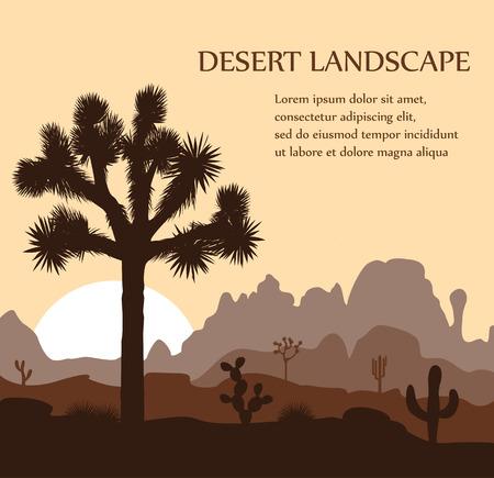 ジョシュア ツリーと日の出山の朝の風景です。ベクトルの図。  イラスト・ベクター素材