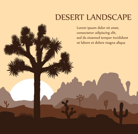 Morning landscape with Joshua tree and mountains over sunrise. Vector illustration.