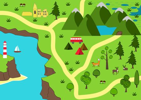 Cartina di avventura dei cartoni animati. Sfondo natura selvaggia. Illustrazione vettoriale Vettoriali