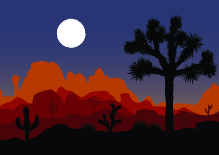 Night landscape with Joshua tree, cactus, and mountains. Vector illustration