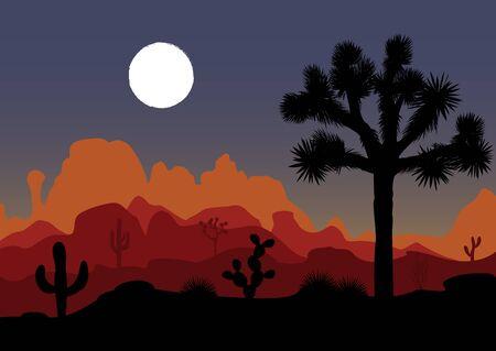 joshua: Night landscape with Joshua tree, cactus, and mountains. Vector illustration