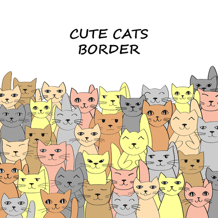 crowd tail: Funny cats family, border for your design. Vector illustration Illustration