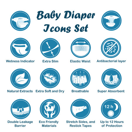 Diaper characteristics icons. Natural extracts, slim, antibacterial, wetness indicator, stretch sides, restick tapes, eco friendly, leak barriers, super absorbent, elastic waist, breathable, soft, dry.  イラスト・ベクター素材