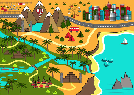 Cartoon map with sea, mountains, river, waterfall, injun tents, cave, and city. Adventure space for kids mats, games design, books and other Illustration