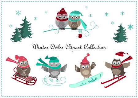 Cute winter owls banner. Winter sport and owls. Vector illustration Vettoriali