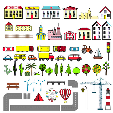 Set of kids city map elements. Vector illustration. Buildings, cars, road, tress, and other city objects