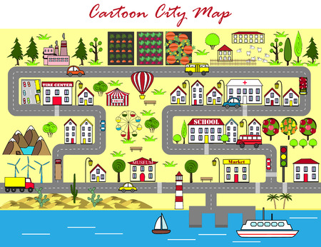 Background of a lively city with houses, streets, an amusement park, cars, suburbs. Design for baby mats, games, books, and other  イラスト・ベクター素材