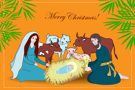 born saint: Nativity scene with saint family and animals. Cartoon vector illustration