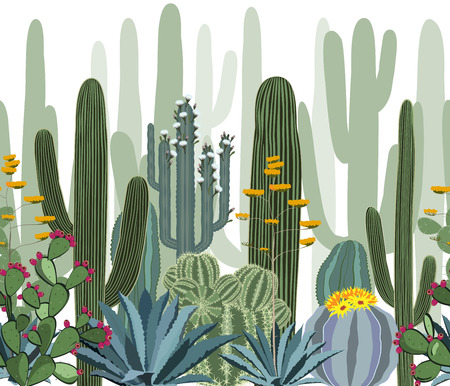 prickly: Seamless pattern with cactus. Wild cactus forest Illustration