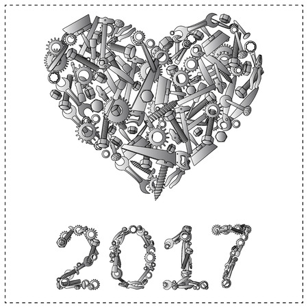 hardware store: Happy new year 2017 design from hand tools for hardware store or unusual greeting card. Illustration