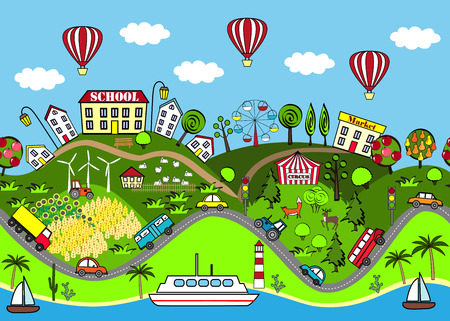 Cute seamless pattern with houses, sea, roads, forest, wing turbines, gardens, cars, and attraction. Design for mats, books games and other kids development
