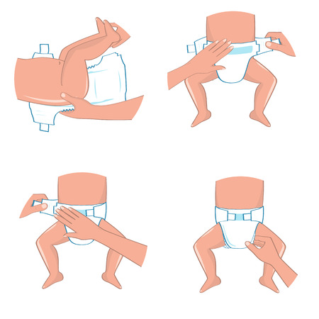 How to wear a diaper steps. Simple manual in illustrations for diapers packs or other information.