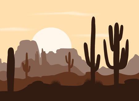 Morning landscape with saguaro cacti and mountains. Vector illustration. Cute brown palette