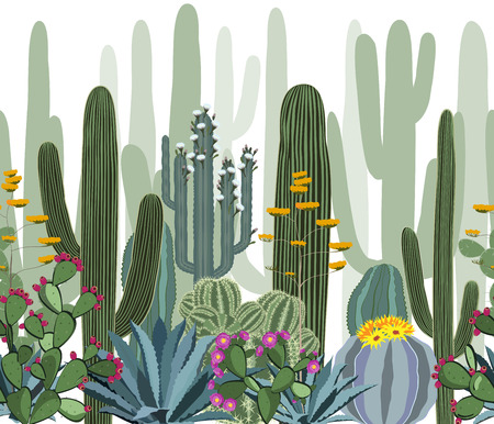 Seamless pattern with cactus. Wild cactus forest Vettoriali