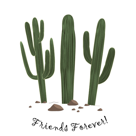 saguaro: Set of three cute cartoon Saguaro cactus . Friends forever text. Card could be used for cards or prints. Illustration