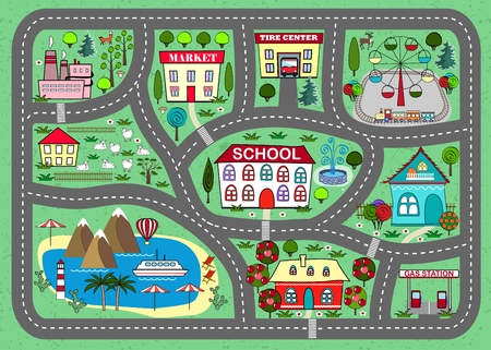 Road play mat for children activity and entertainment Ilustração