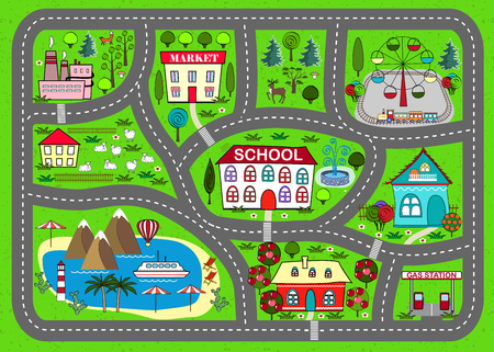 city park boat house: Road play mat for children activity and entertainment Illustration