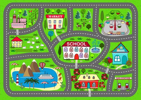어린이 활동 및 엔터테인먼트를위한 도로 놀이 매트