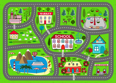 Road play mat for children activity and entertainment Çizim