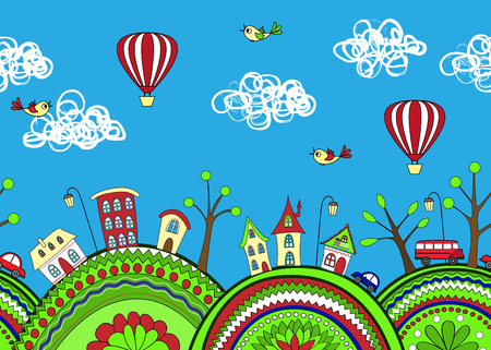 ornamented: Cute doodle seamless pattern with ornamented hills and cartoon city