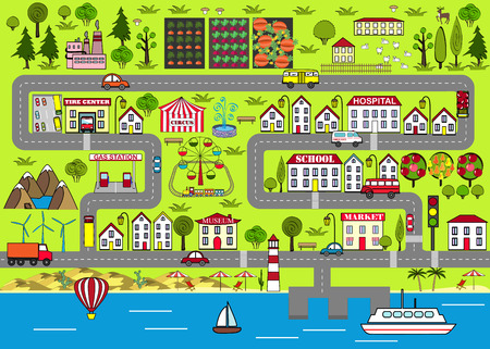 Cartoon urban background. Road play mat for kids entertainment Vettoriali