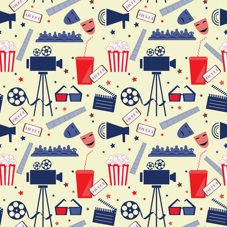 Vector flat seamless pattern with cinema attributes.
