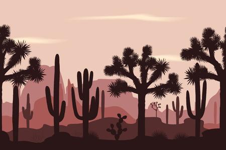 Desert seamless pattern with joshua trees and saguaro cacti. Illustration