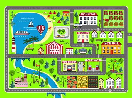 City landscape car track. Kids play mat Stock Illustratie