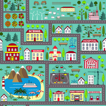 rug map: Seamless road play mat for kids activity and entertainment