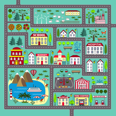 Cute square road play mat for kids activity and entertainment Vettoriali