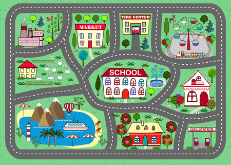rug map: Road play mat for children activity and entertainment Illustration