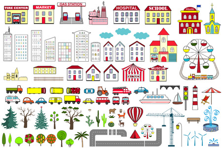 Set of cartoon city map elements. Vector illustration. Иллюстрация