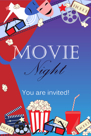 film title: Movie background with cinema attributes. Illustration