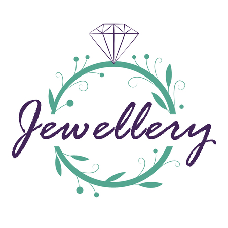 Jewelry logo design in organic style like a plant footstalk