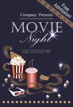 Popcorn doos met cola en 3D-bril op de achtergrond bioscoop. Filmposter, banner of flyer. vector illustratie