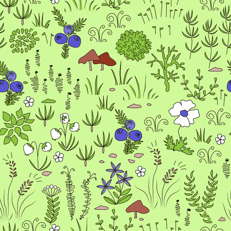 Nordic natural pattern with mushrooms, reindeer moss, lichens, needles.
