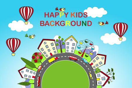 happy kids: Kids background with happy city