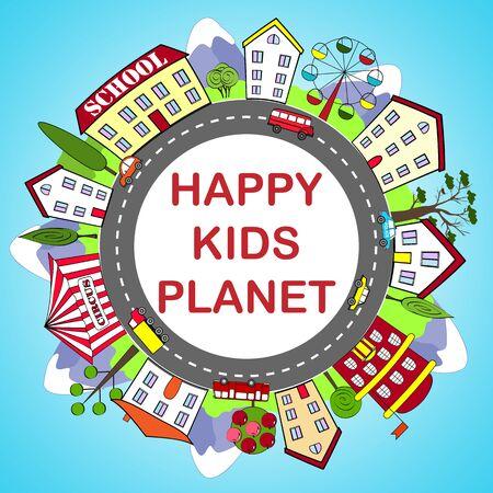 happy kids: Kids round frame with happy city
