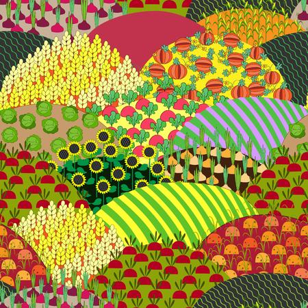 pumpkin seeds: Fields Seamless Pattern. Cartoon farming landscape.
