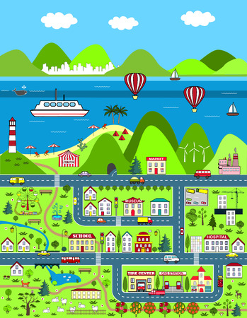 Detailed cartoon map with city, mounatins, and sea Illustration