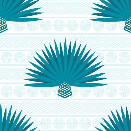 Abstract vector background with maguey. Seamless pattern with blue agave