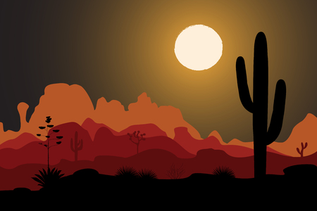 Saguaro cactus tree in night desert Illustration